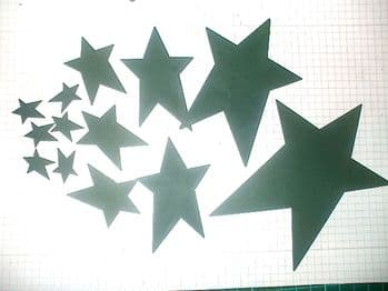 Green Painted metal Stars Choice of size