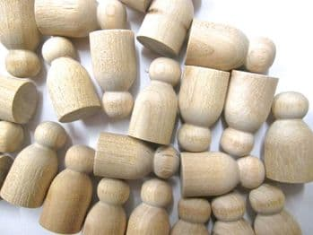 pack of 50 Little Peg Doll Wooden people for Wood Toys and games Baby Peg Dolls  (1st quality