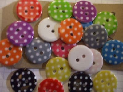 Polka Dot Buttons 18mm Choice of Colour