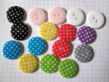 Polka Dot Resin 23mm Buttons  x 16 Assorted Colours