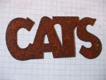 Rusty Tin 'CATS' Sign Plaque