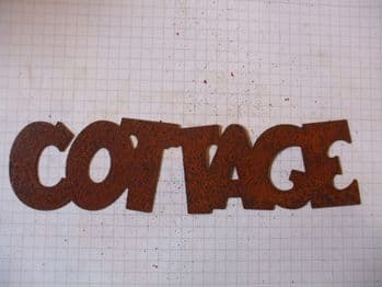 Rusty Tin 'COTTAGE' Sign Plaque