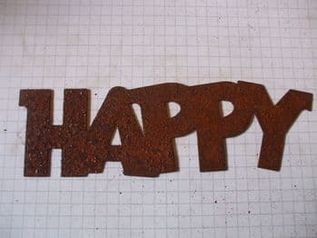 Rusty Tin 'HAPPY' Sign Plaque