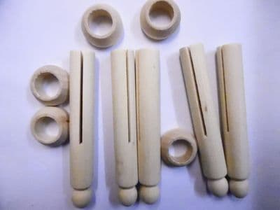 Traditional Wood Peg Dolls and stands