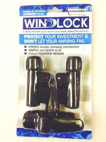 3x Leisurewize Aluminium Awning Windlock Quick Lock Release Clamps 22-25mm