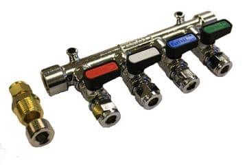 4 Way Gas Manifold (8mm)