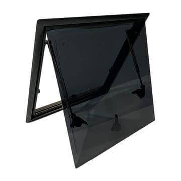 Campervan Hinged Window Black Alloy Frame 1100 x 450mm