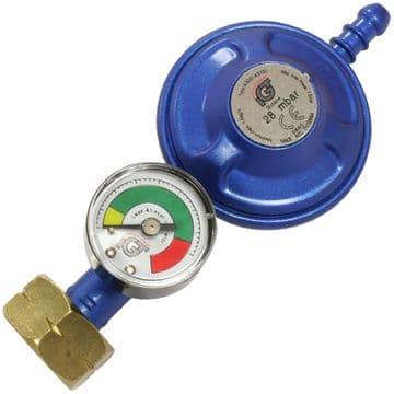Caravan Motorhome BBQ 28 mbar Butane Screw Gas Regulator - With Level Gauge