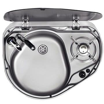 Dometic Smev 8821 - 1 Burner Hob And Sink Combination With Glass Lid