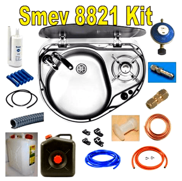 Dometic Smev 8821 KIT - 1 Burner Hob And Sink Combination Unit with Glass Lid