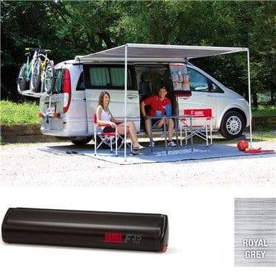 Fiamma F35 Pro Awning for Campervans and Small Caravans - Deep Black Case, Caravan Motorhome Campervan Awnings - Grasshopper Leisure