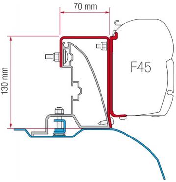 Fiamma F45 Awning Adapter Kit - Ducato H2 Roof Rail