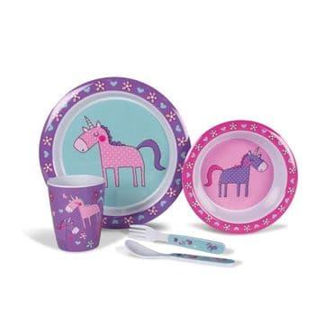 Kampa Dometic Unicorn Children's Melamine Tableware Dinner Set