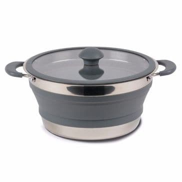 Kampa Folding Saucepan 3L Grey Collapsible Camping Saucepan