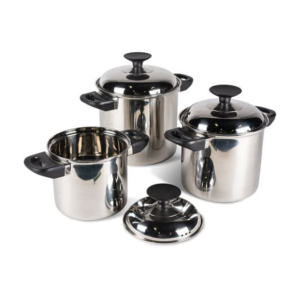 Kampa Space Saver Stainless Steel Cook Set, Camping Cooking Accessories - Grasshopper Leisure