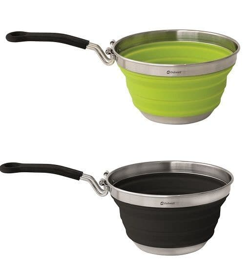 Outwell Collaps Collapsible Saucepans - Lime Green & Midnight Black - Grasshopper Leisure