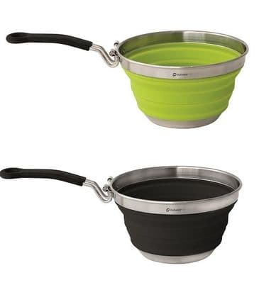 Outwell Collaps Collapsible Saucepans - Lime Green & Midnight Black