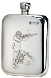 Bisley 6oz Shooter & Dog Pewter Rounded Flask