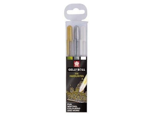 Sakura Gelly Roll Pens (Gold/Silver/White)