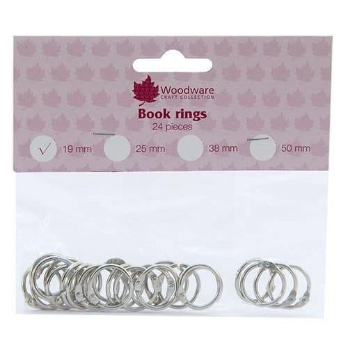 Woodware 19mm Book Rings (Pack 24)