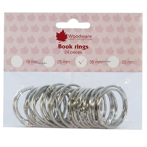 Woodware 38mm Book Rings (Pack 24)