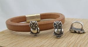 Funky Leather 10x6mm Owl Charm
