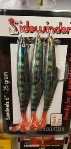 "Sidewinder Sandeels 6"" - 25g - Mack Fire - Pollack, Bass , Cod Fishing"