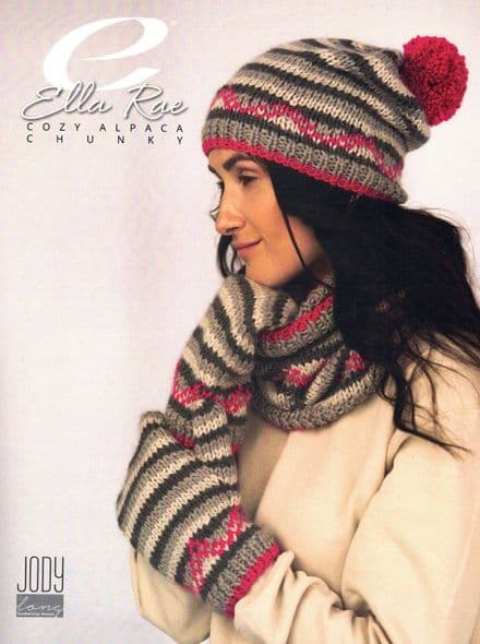 Ella Rae Ladies Hat, Cowl & Mitts Knitting Pattern in Cozy Alpaca Chunky
