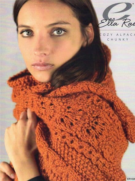 Ella Rae Ladies Scarf Knitting Pattern in Cozy Alpaca Chunky (ER1020)