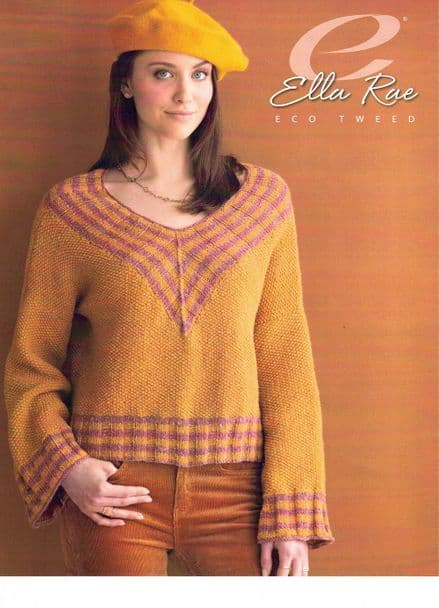 Ella Rae Rosaline Sweater Knitting Pattern in Eco Tweed DK (ER1147-02)