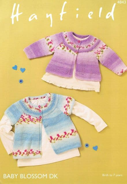 Hayfield Babies Cardigans Knitting Pattern in Baby Blossom DK (4843)