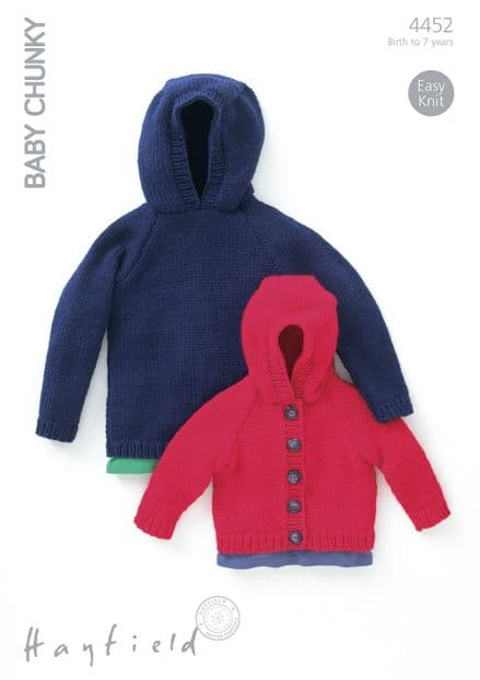 Hayfield Babies/Childrens Sweater & Jacket Knitting Pattern in Baby Chunky (4452P) PDF