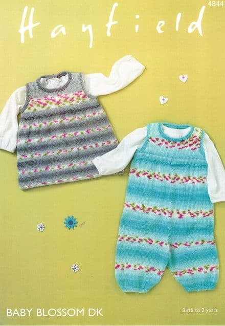 Hayfield Babies Dungarees & Pinafore Knitting Pattern in Baby Blossom DK (4844)
