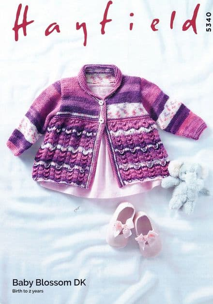 Hayfield Babies Matinee Coat Knitting Pattern in Baby Blossom DK (5340)
