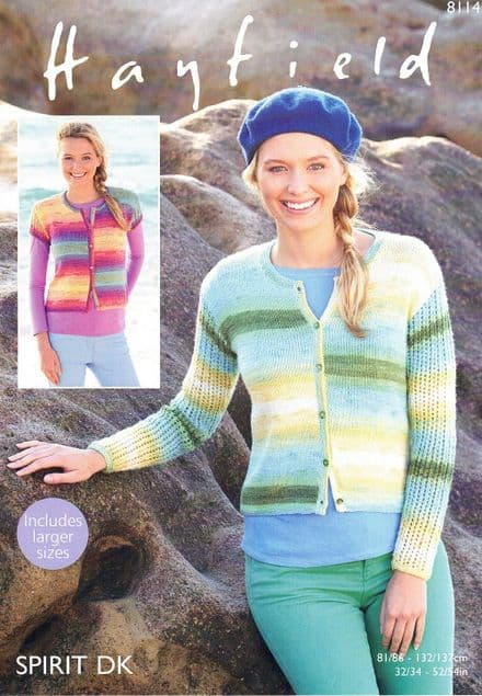 Hayfield Ladies Cardigans Knitting Pattern in Spirit DK (8114)