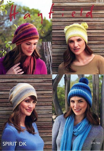 Hayfield Ladies Hats Knitting Pattern in Spirit DK (8158)