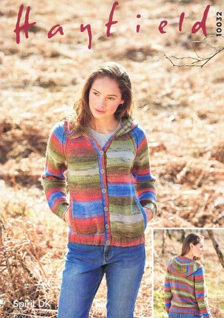 Hayfield Ladies Hooded Cardigan Knitting Pattern in Spirit DK (10032)