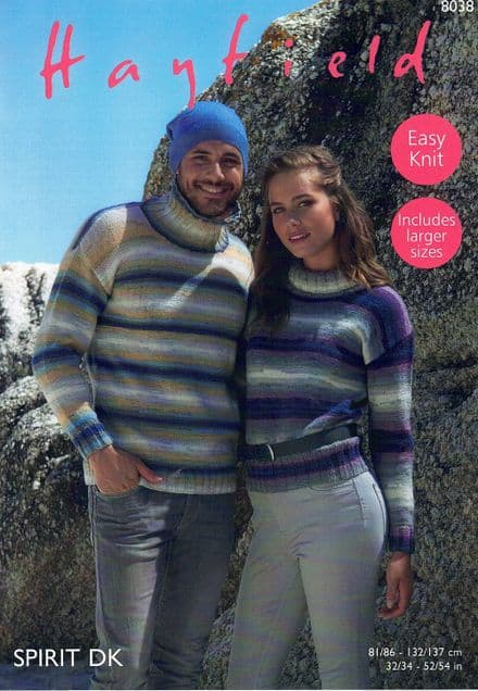 Hayfield Ladies & Mens Sweaters Knitting Pattern in Spirit DK (8038)