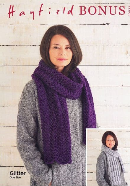 Hayfield Ladies Scarves Knitting Pattern in Glitter DK (10022)