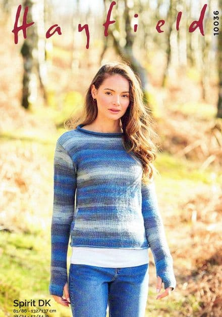 Hayfield Ladies Sweater Knitting Pattern in Spirit DK (10036)