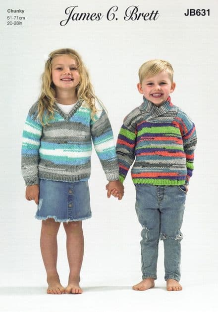 James C Brett Childrens V Neck & Wrap Neck Sweaters in Party Time Chunky (JB631)