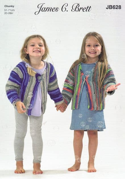James C Brett Girls Cardigans in Party Time Chunky (JB628)