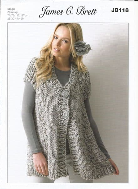 James C Brett Ladies Waistcoat Rustic Mega Chunky Knitting Pattern (JB118)