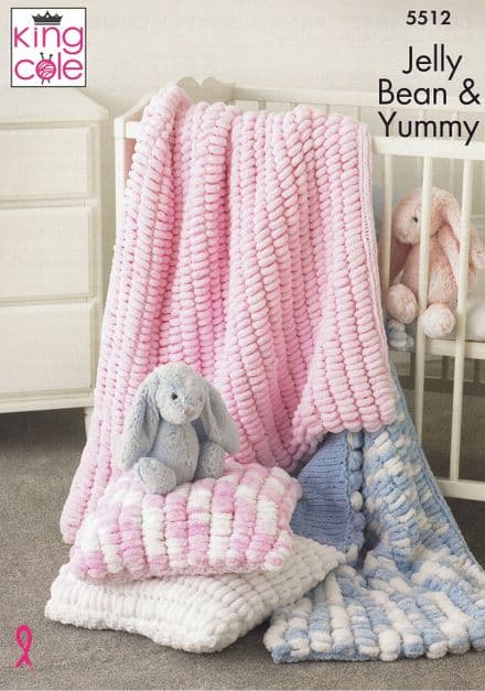 King Cole Babies Cot, Pram Blankets & Cushion Knitting Pattern in Jelly Bean & Yummy Crush (5512)