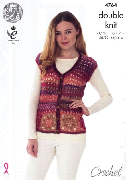 King Cole Cardigan & Accessories Crochet Pattern in Riot DK (4764)