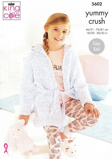 King Cole Girls Dressing Gowns Knitting Pattern in Yummy Crush (5602)