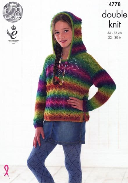 King Cole Girls Sweater & Hoodie Knitting Pattern in Riot DK (4778)