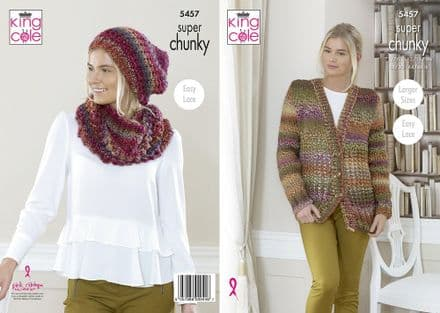 King Cole Ladies Cardigan, Hat & Cowl Knitting Pattern in Explorer Super Chunky (5457)