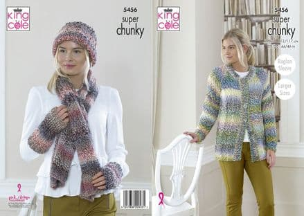 King Cole Ladies Cardigan, Scarf & Hat Knitting Pattern in Explorer Super Chunky (5456)