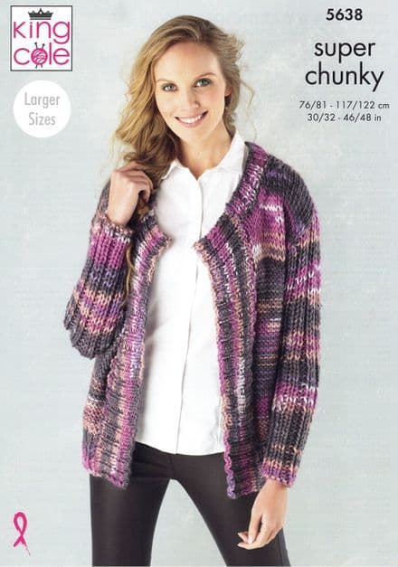 King Cole Ladies Cardigan & Sweater Knitting Pattern in Quartz Super Chunky (5638)